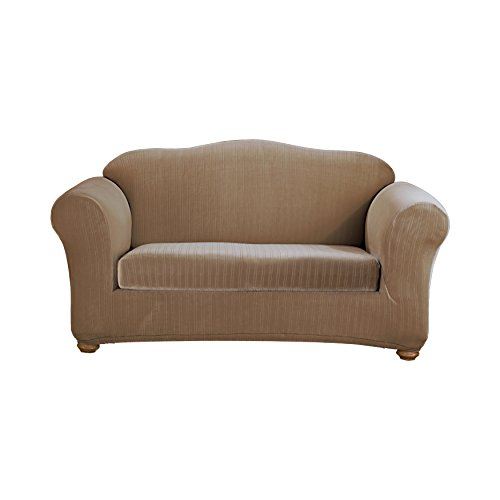 Sure Fit Stretch Pinstripe 2-Piece - Loveseat Slipcover  - Taupe (SF35830) by Surefit