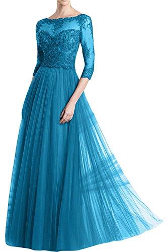 Damen Abendkleider Spitze Flieder Langarm Braut Promkleider Rock Brautmutterkleider Marie Blau Chiffon La RwxqEnT4