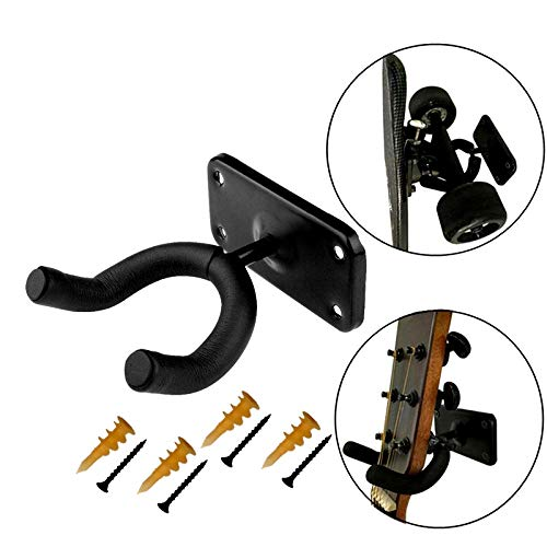 XJunion Skateboard Wall Hanger Wall Storage Clip Skateboard Wall Rack Wall Mount - for Skateboard and Longboard and Guitar