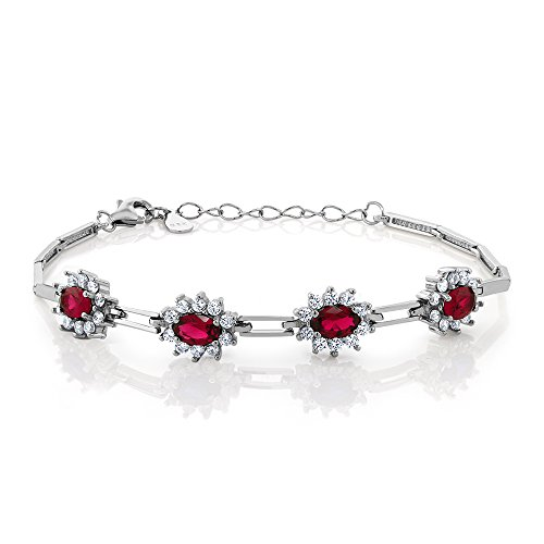Gem Stone King Sterling Silver Red Created Ruby Women's Tennis Bracelet (2.36 cttw, 7 Inch With 1 Inch Extender) ()