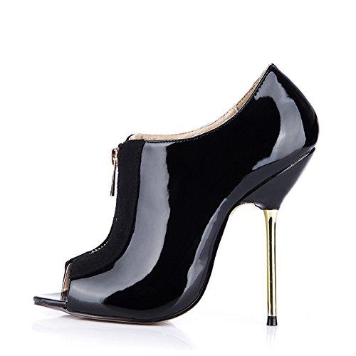 haut Et avec talon le nouveau Black banquet de noir vernis cuir fer poisson court astuce mesdames fermeture démarrage hiver éclair chaussures 1Zxr1