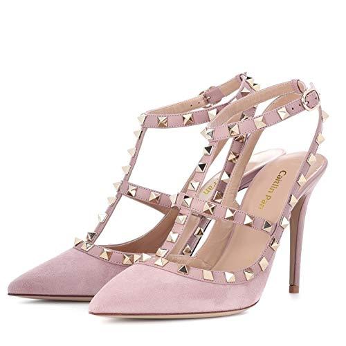 35 Parti Robe Goujons Pan Mode Femmes Chaussures Sangles UE Formelle Pink Suede Pink 45 Bout Cheville Caitlin Pointu Sandales Haute Strap Cour Talon Stiletto Cloutées 7qUwdxnO4