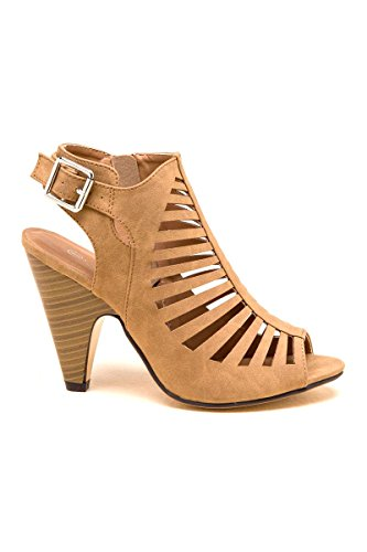 's Gladiator Strappy Cage Stacked Mid Heel Ankle Bootie (6, Tan) (Strappy Gladiator Heel Sandal)