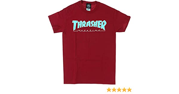 c8395c15b7d4 Amazon.com: Thrasher Magazine Outlined Cardinal Red Men's Short Sleeve T- Shirt - Large: Sports & Outdoors