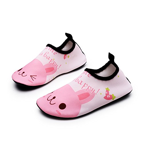 Lewhosy Kids Boys and Girls Swim Water Shoes Quick Drying Barefoot Aqua Socks Shoes for Beach Pool Surfing Yoga(26/Rabbit Pink)