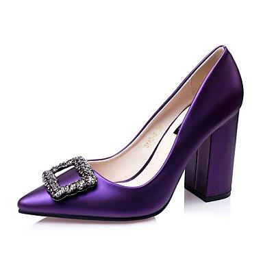 Talones de las mujeres Zapatos Primavera Verano Otoño Invierno Club de seda Oficina Boda Carreras y noche tacón de cuña del Rhinestone Purple