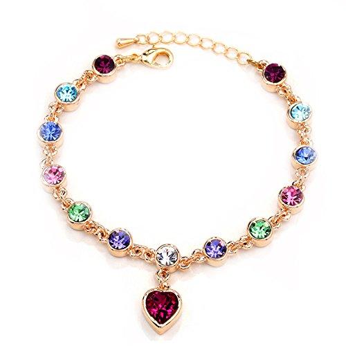 Starshiny Swarovski Elements Crystal Love Heart - Bracelet Adjustable Hand Chain Gift for Lover