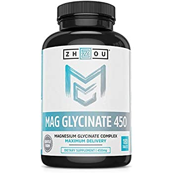 Magnesium Glycinate Complex 450 mg Tablets - Formulated for Calm, High Absorption, Muscle Relax and Gentle Digestion, Vegan, Non-GMO, Gluten-Free, Soy Free, ...