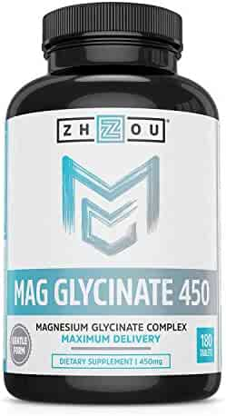 Magnesium Glycinate Complex 450 mg Tablets - Formulated for Calm, High Absorption, Muscle Relax & Gentle Digestion, Vegan, Non-GMO, Gluten-Free, Soy Free, Bioavailable, 180 Tablets