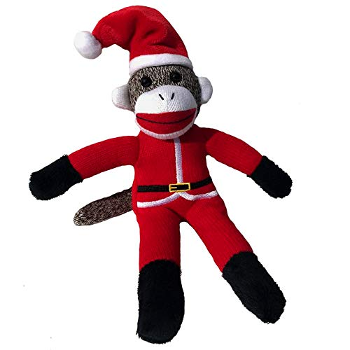 ColorBoxCrate Santa Claus Sock Monkey Plush, 12 inch Classic Sock Monkey in Red Santa Claus Costume, Stuffed Animal Toy with Soft Fabric for Decorations, Ornament, Stocking Stuffer (Classic Ornament Santa)