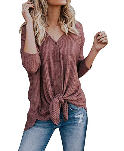 VEIMEILI Women's Long Sleeve Modest Knitted Blouses Asymmetrical Hem Tunic Shirts Rust...