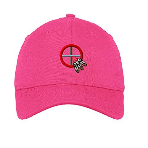 Medicine Wheel Twill Cotton 6 Panel Low Profile Hat Hot Pink