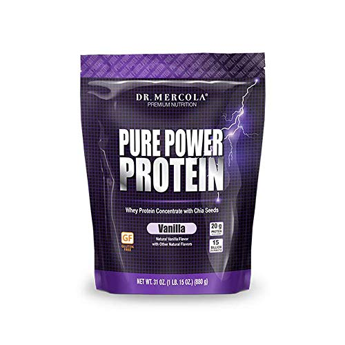 Dr. Mercola Pure Power Protein Vanilla, 31 oz (1 IB. 15 oz.) (880 g), 22 Servings, Non GMO, Soy-Free, Gluten Free