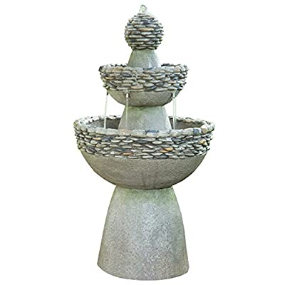"Peaktop FI0030AA Waterfall Fountains, 20.47""x 20.47""x 36.50"", Stone Grey - Soothing water flow sound to help you relax. Elegant stone finish creates a Zen look. Sturdy lightweight concrete construction with stone-like finish. - patio, fountains, outdoor-decor - 415QYQWa6fL. SS400  -"