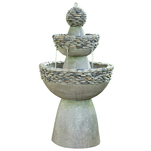 (Peaktop - Outdoor Water Fountain, Garden Majestic Zen 3 Tier Stone-Like Finish Waterfall Fountain, 36
