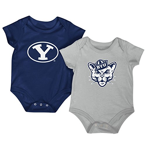 Colosseum NCAA Short Sleeve Bodysuit 2-Pack-Newborn and Infant Sizes-BYU Cougars-0-3 Months (Cougars College Basketball)