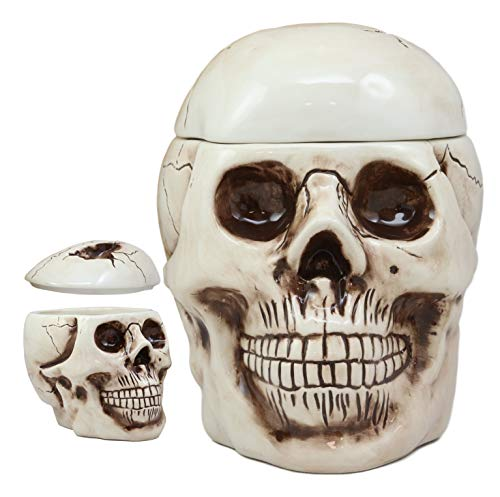 (Ebros Gift Large Ceramic Ghastly Homosapien Jointed Human Skull Cookie Jar Decorative Figurine 9.25