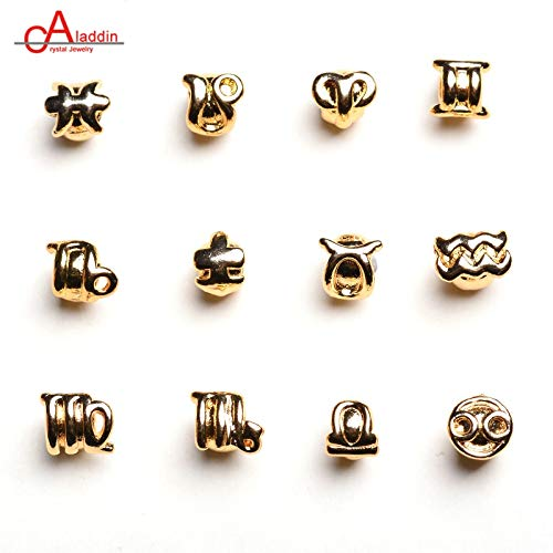 12 Constellation Charms Copper Alloy Plated Gold Mini Pendant DIY Bracelets Earringsaccessories Handmade - Charm Zodiac Plated