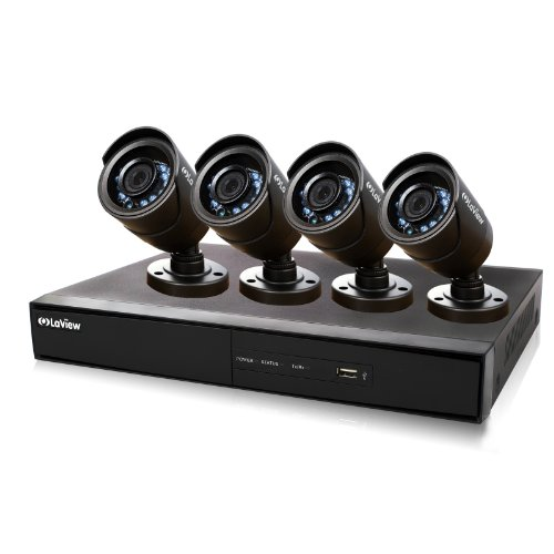 LaView 4 Camera 960H Security System, 4 Channel 960H DVR w/500GB HDD and 4 600TVL Black Bullet Camera Surveillance Kit