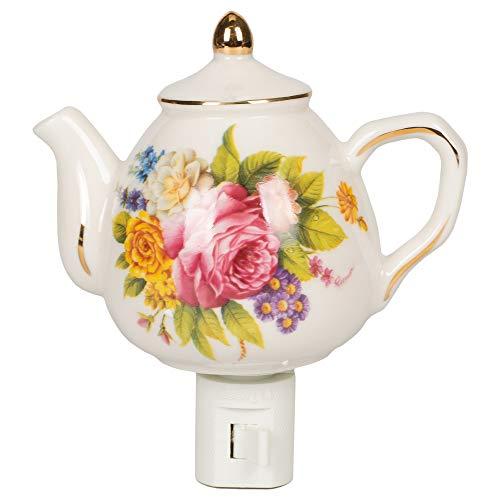 - Floral Mini Teapot 4.5 x 4.5 Porcelain Wall Plug-In Night Light
