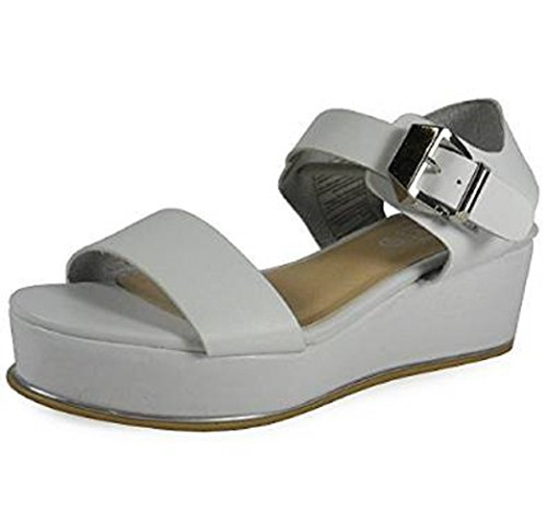 LoudLook New Womens Ladies Wedge Buckle Fashion Causual Work Sandal Shoes Size 3-8 UK White MGGmX