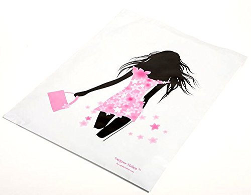 100 14x17 Pink & Black Decorative Poly Designer Mailers Shipping Envelopes Boutique Poly Bags Fashion Girl