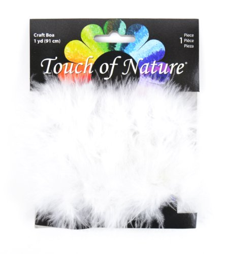 Touch of Nature 1-Piece Feather Marabou Craft Boa with Wire Center for Arts and Crafts, 1-Yard, White ()