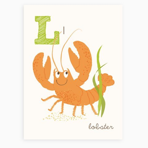 Sea Urchin Studio ABC Wall Art for Kids, L/Lobster