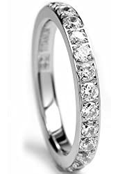 3mm High Polished Titanium Round CZ Cubic Zirconia Eternity Wedding Band