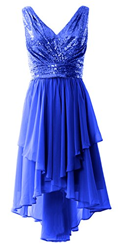 Prom Sequin V High Women Neck Chiffon Party Straps Dress Gown MACloth Blue Royal Formal Low nBITqW8Y