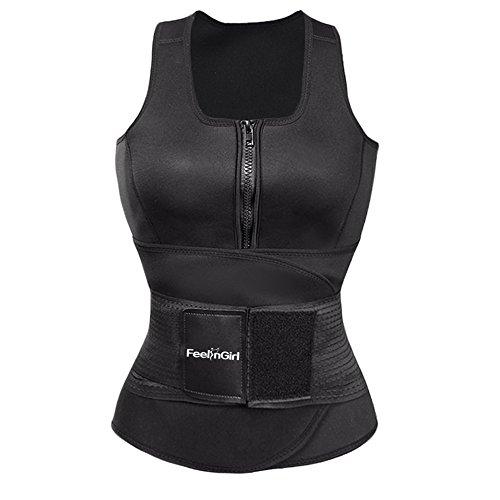 Feelinril Women's Latex Overbust Corset Waist Training Cincher,Dark,X-Large