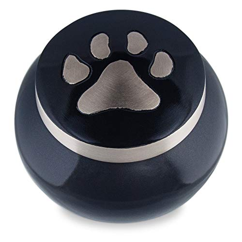 (Adera Dreams Precious Memory Pet Urn for Dog Ashes or Cat Cremains, Small Black and Grey Pet Cremation Urn for Pet Ashes, Handmade for Your Best Friend, Paw Memorial Urn W Velvet Bag)