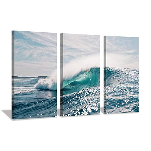 Hardy Gallery Wave Canvas Artwork Ocean Picture: Seascape Painting Art Print on Canvas for Living Room (26'' x 16'' x 3 Panels)