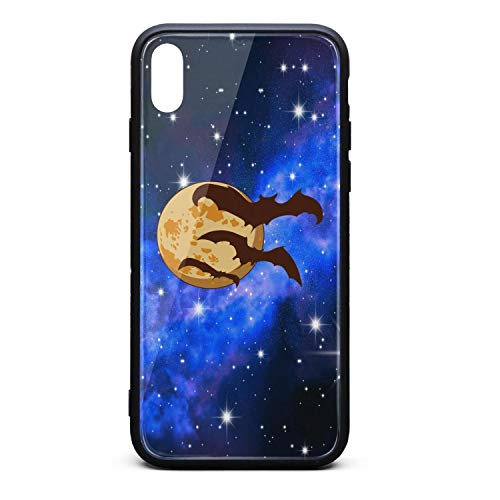 Halloween Moon Bats Phone Case for iPhone Xs Max, Slim Protection Art Line Design Cell Phone Protective Case]()