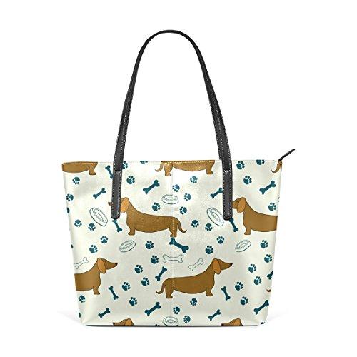 COOSUN Cartoon Dog Dackel Muster PU Leder Schultertasche Handtasche und Handtaschen Tasche für Frauen