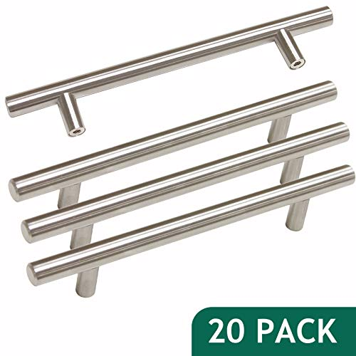 - Probrico Stainless Steel Modern Cabinet Handles Kitchen Cupboard Drawer Handles and Pulls T Bar Knobs Brushed Nickel, 5 inch Hole Centers, 20 Pack