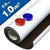 Eisenfolie Ferrofolie selbstklebend weiß matt - 0,6mm x 1m x 1m - mit Premium-Kleber, flexibler Haftgrund für Magnete