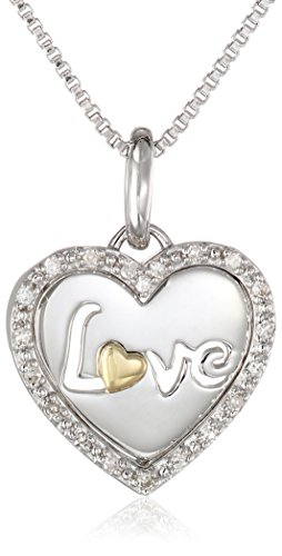 Sterling Silver and 14k Yellow Gold Love Diamond Heart Pendant Necklace, 18""