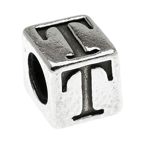 1 pc Sterling Silver Alphabet Cube Bead Letter 'T' 5.5mm x 5.4mm, 3.7mm Hole
