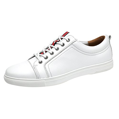 Jamron Unisex Women Men 100% Genuine Leather Lace Up Low Top Sneakers Comfort Skateboard Shoes Big Size White