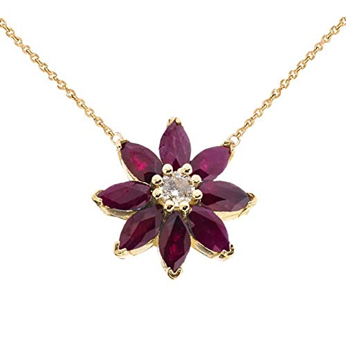 Exotic 14k Yellow Gold Daisy Diamond and Ruby Flower Necklace, 16