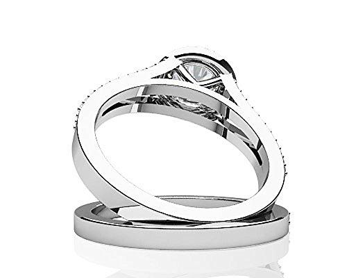 14K Or blanc élégant Split Tige de mariage Diamant