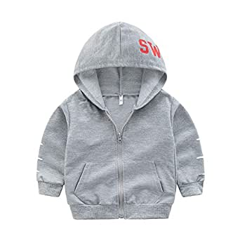 Xifamniy Infant Unisex Baby Hooded Coat Letter Print Zipper Cotton Sweatshirt Jacket Gray