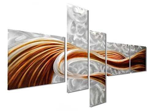 "Pure Art Caramel Desire Contemporary Metal Artwork - Large Modern Abstract Wall Art Decor Sculpture - Set of 5 Panels 69"" x 40"" (Flat Plain Mirrored Cabinet)"