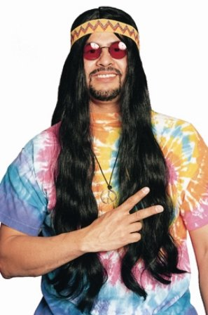 [60s Hippie Long Hair w/ Headband Wig (brown) Adult Halloween Costume Accessory] (Halloween Costume Men Long Hair)