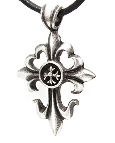 Pewter Cross with Fleur De Lis Pendant on Leather - Pendant Fleur De Lis Crucifix
