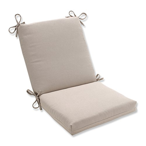 Pillow Perfect Indoor/Outdoor Beige Solid Chair Cushion, Squared by Pillow Perfect