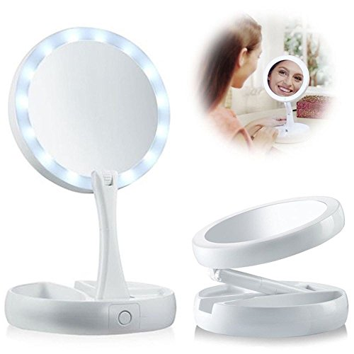 PiggiesC Double-Sided LED Lighted Foldable Vanity 1X/10X Magnifying Makeup Mirror by PiggiesC