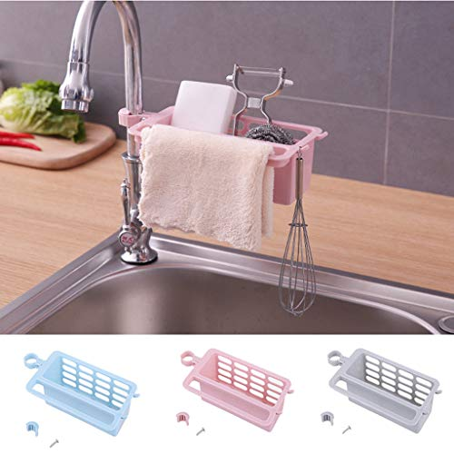 Gotian Kitchen Drainage Shelf Multifunctional Dish washing Sponge Storage Rack - Kitchens, Bathrooms and Other Scenes, can be Recycled, Easy to Install (Pink) from Gotian