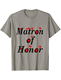 Matron of Honor T-Shirt, Red Hearts, Bold Black Text, Bridal